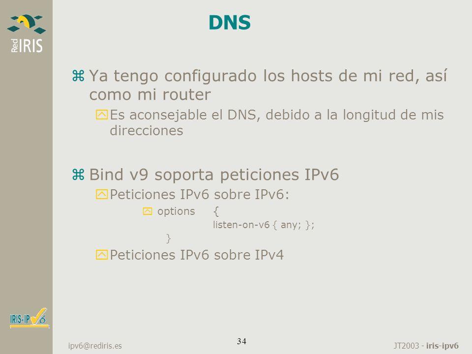 JT2003 - iris-ipv6 ipv6@rediris.es 34 DNS zYa tengo configurado los hosts de mi red, así como mi router yEs aconsejable el DNS, debido a la longitud d