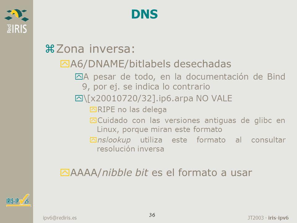 JT2003 - iris-ipv6 ipv6@rediris.es 36 DNS zZona inversa: yA6/DNAME/bitlabels desechadas yA pesar de todo, en la documentación de Bind 9, por ej. se in