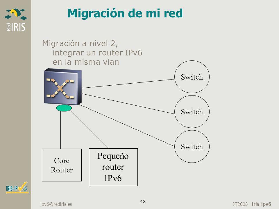 JT2003 - iris-ipv6 ipv6@rediris.es 48 Migración de mi red Migración a nivel 2, integrar un router IPv6 en la misma vlan Core Router Switch Pequeño rou