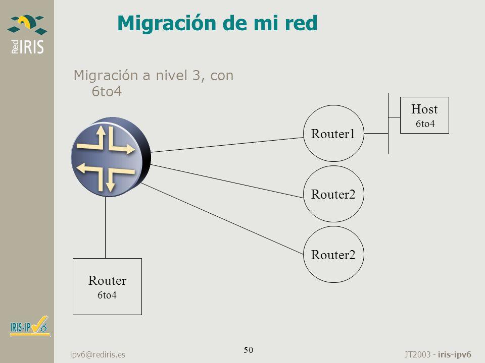 JT2003 - iris-ipv6 ipv6@rediris.es 50 Migración de mi red Migración a nivel 3, con 6to4 Core Router 6to4 Router1 Router2 Host 6to4