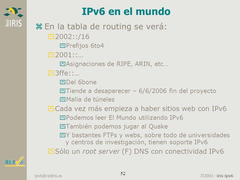 JT2003 - iris-ipv6 ipv6@rediris.es 52 IPv6 en el mundo zEn la tabla de routing se verá: y2002::/16 yPrefijos 6to4 y2001::… yAsignaciones de RIPE, ARIN