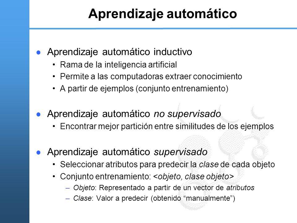 Aprendizaje automático Aprendizaje automático inductivo Rama de la inteligencia artificial Permite a las computadoras extraer conocimiento A partir de