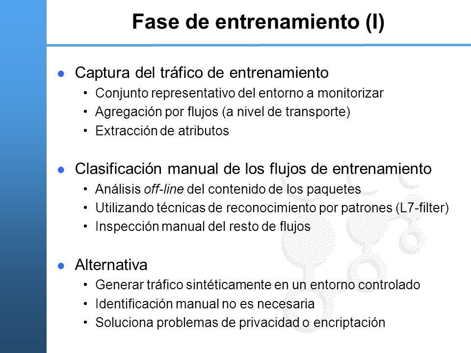 Fase de entrenamiento (I) Captura del tráfico de entrenamiento Conjunto representativo del entorno a monitorizar Agregación por flujos (a nivel de tra