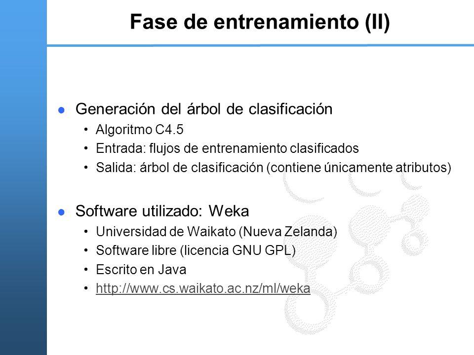 Fase de entrenamiento (II) Generación del árbol de clasificación Algoritmo C4.5 Entrada: flujos de entrenamiento clasificados Salida: árbol de clasifi
