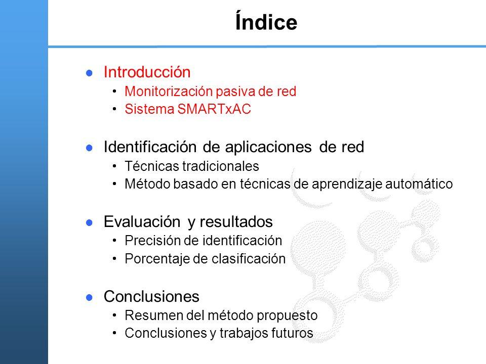 Índice Introducción Monitorización pasiva de red Sistema SMARTxAC Identificación de aplicaciones de red Técnicas tradicionales Método basado en técnicas de aprendizaje automático Evaluación y resultados Precisión de identificación Porcentaje de clasificación Conclusiones Resumen del método propuesto Conclusiones y trabajos futuros