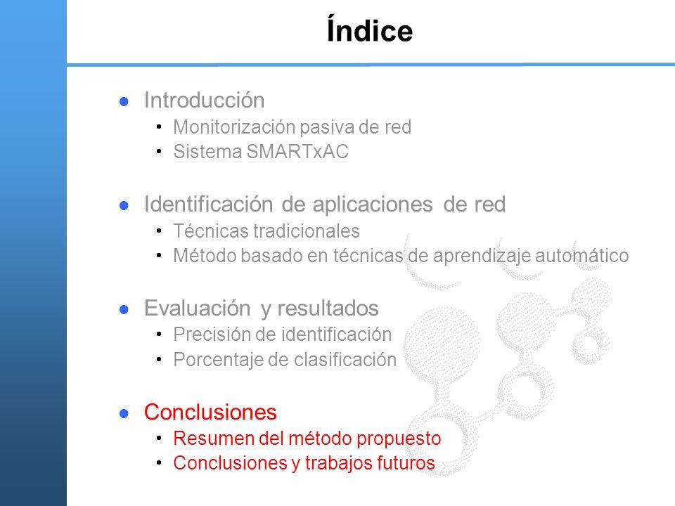 Índice Introducción Monitorización pasiva de red Sistema SMARTxAC Identificación de aplicaciones de red Técnicas tradicionales Método basado en técnic