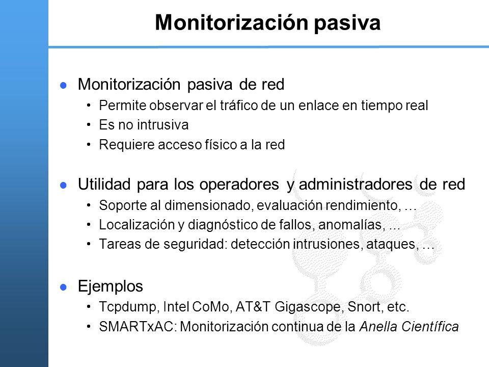 Monitorización pasiva Monitorización pasiva de red Permite observar el tráfico de un enlace en tiempo real Es no intrusiva Requiere acceso físico a la