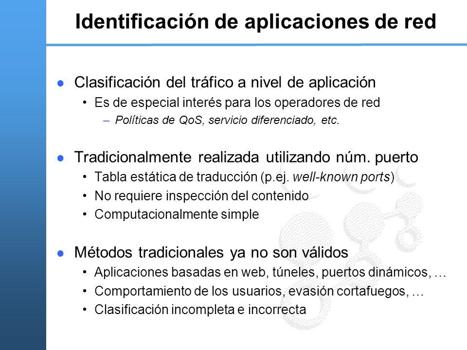 Identificación de aplicaciones de red Clasificación del tráfico a nivel de aplicación Es de especial interés para los operadores de red –Políticas de