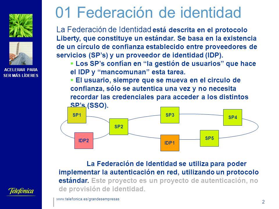 ACELERAR PARA SER MÁS LÍDERES 2 www.telefonica.es/grandesempresas 01 Federación de identidad La Federación de Identidad está descrita en el protocolo Liberty, que constituye un estándar.