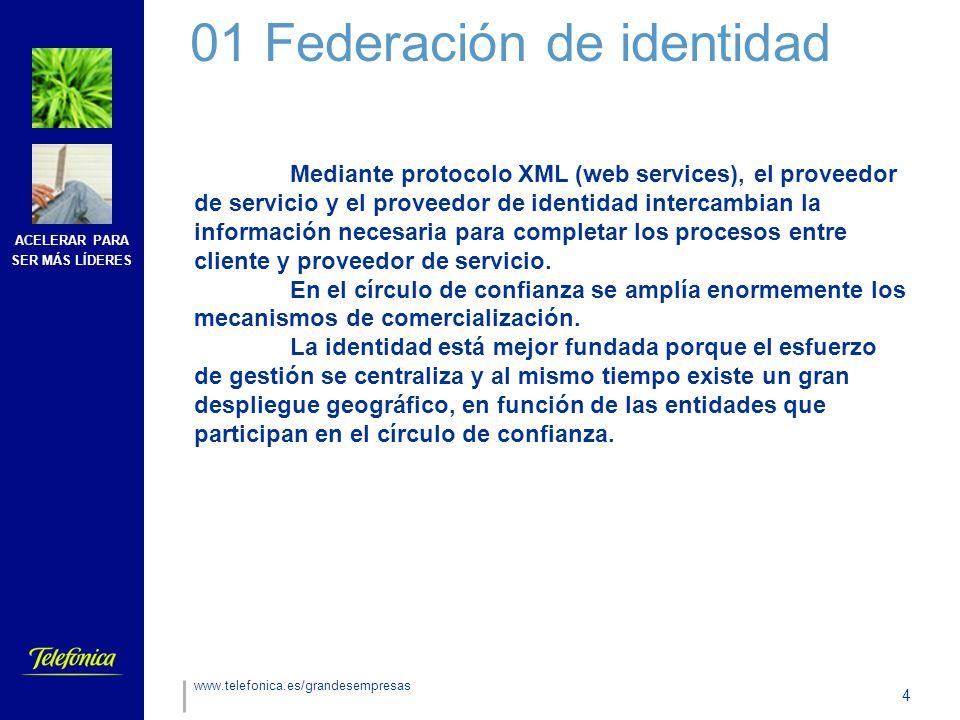 ACELERAR PARA SER MÁS LÍDERES 4 www.telefonica.es/grandesempresas Mediante protocolo XML (web services), el proveedor de servicio y el proveedor de identidad intercambian la información necesaria para completar los procesos entre cliente y proveedor de servicio.