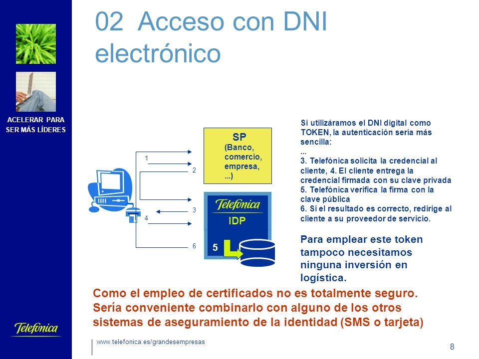 ACELERAR PARA SER MÁS LÍDERES 8 www.telefonica.es/grandesempresas Si utilizáramos el DNI digital como TOKEN, la autenticación sería más sencilla:...