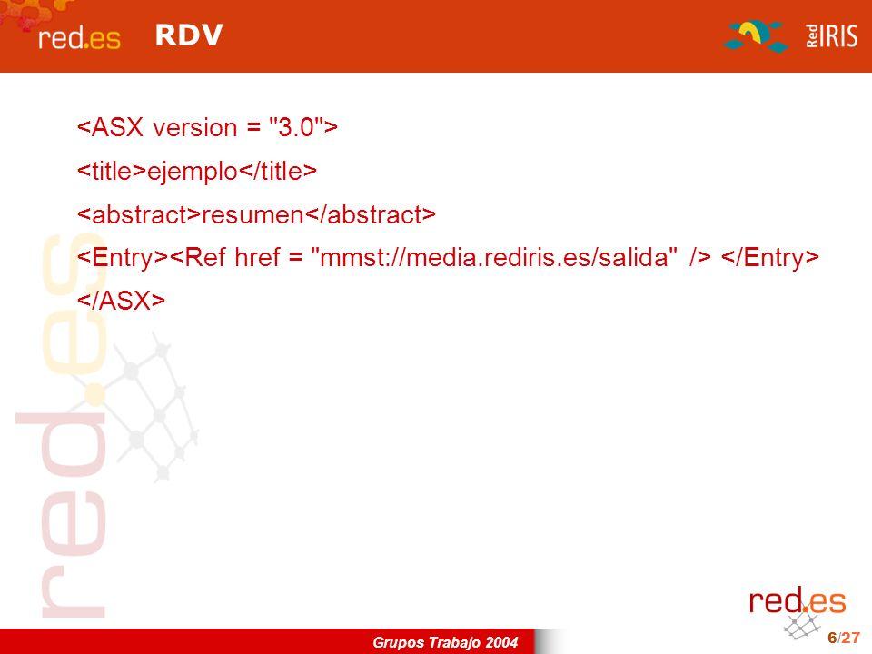 Grupos Trabajo 2004 6/27 RDV ejemplo resumen