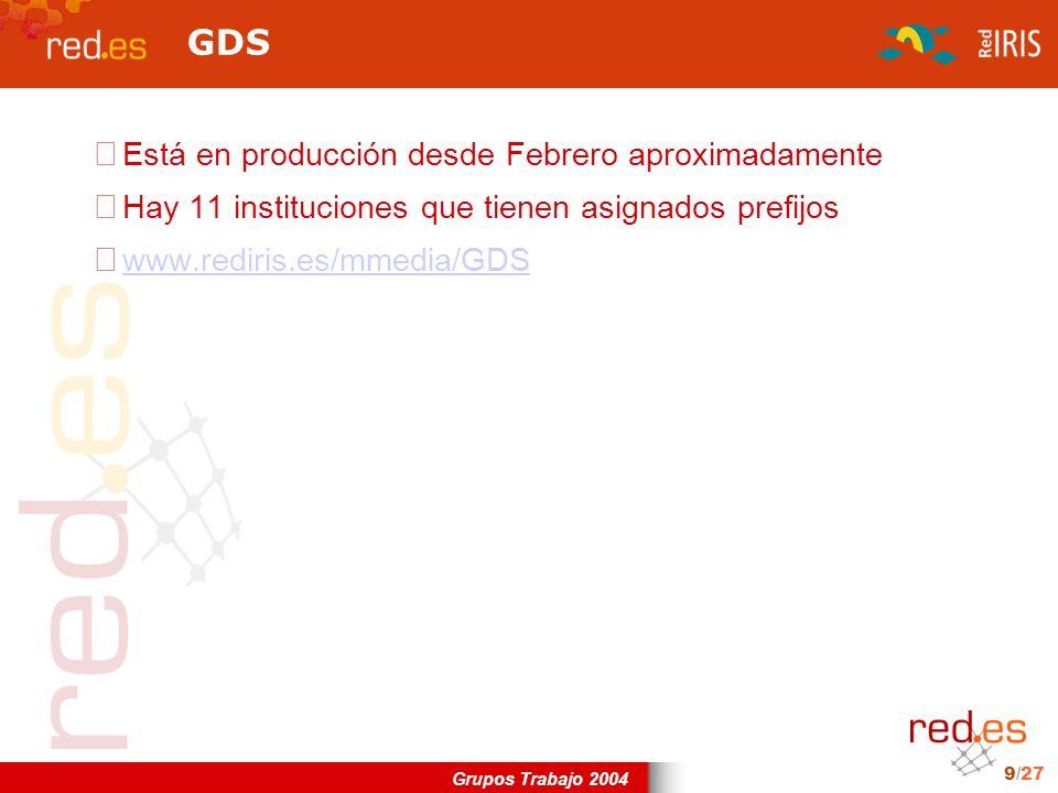 Grupos Trabajo 2004 9/27 GDS Está en producción desde Febrero aproximadamente Hay 11 instituciones que tienen asignados prefijos www.rediris.es/mmedia/GDS