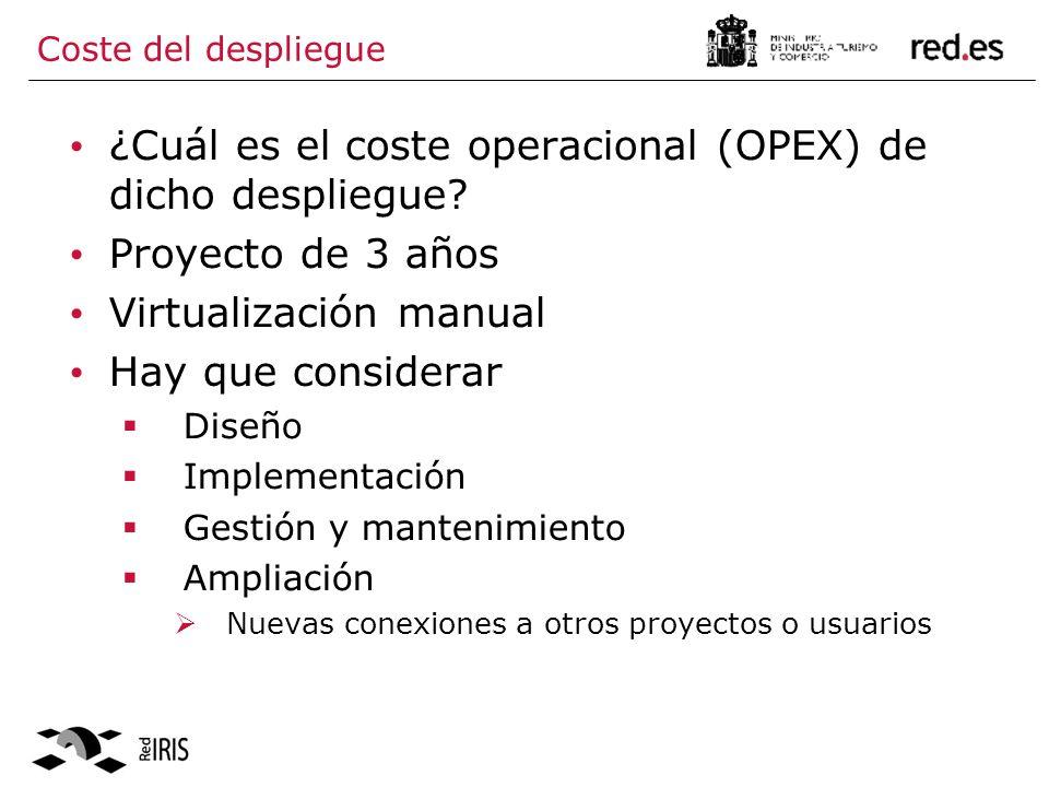 Coste del despliegue ¿Cuál es el coste operacional (OPEX) de dicho despliegue.