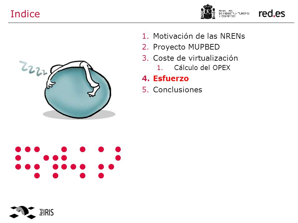 Indice 1.Motivación de las NRENs 2.Proyecto MUPBED 3.Coste de virtualización 1.Cálculo del OPEX 4.Esfuerzo 5.Conclusiones