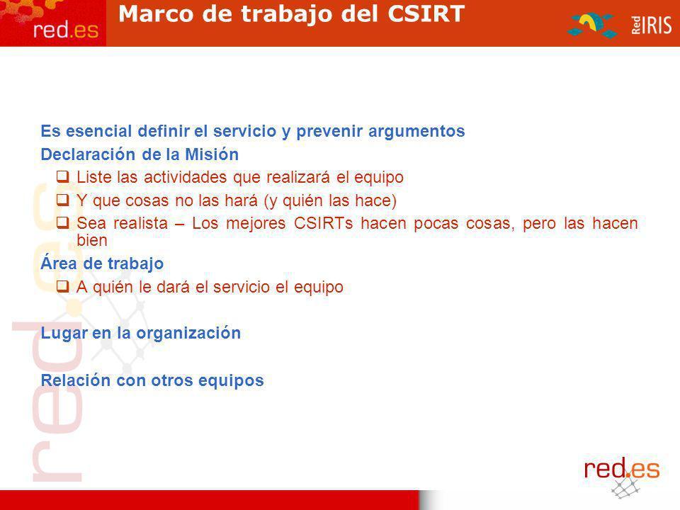 Marco de trabajo del CSIRT Es esencial definir el servicio y prevenir argumentos Declaración de la Misión Liste las actividades que realizará el equip