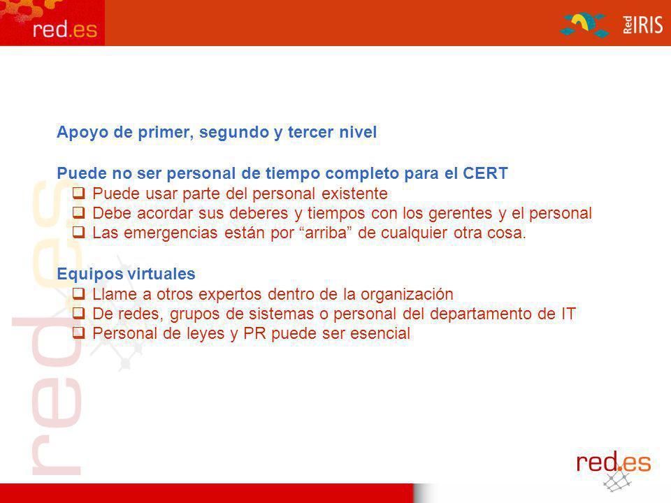 Estructura del Equipo Apoyo de primer, segundo y tercer nivel Puede no ser personal de tiempo completo para el CERT Puede usar parte del personal exis