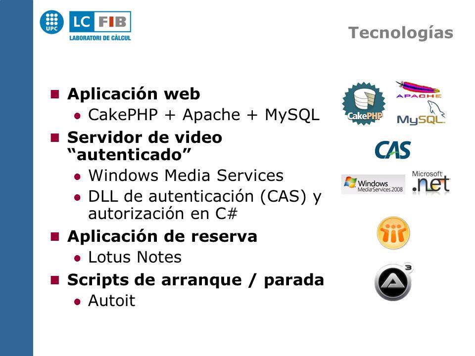 Tecnologías Aplicación web CakePHP + Apache + MySQL Servidor de video autenticado Windows Media Services DLL de autenticación (CAS) y autorización en C# Aplicación de reserva Lotus Notes Scripts de arranque / parada Autoit