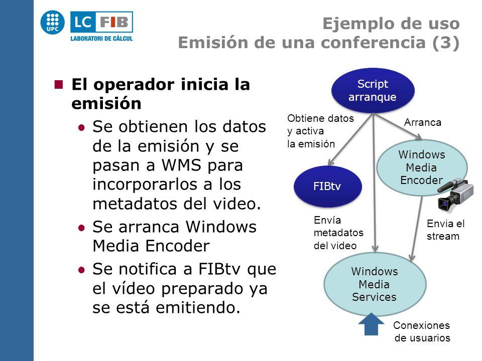 Ejemplo de uso Emisión de una conferencia (3) El operador inicia la emisión Se obtienen los datos de la emisión y se pasan a WMS para incorporarlos a los metadatos del video.