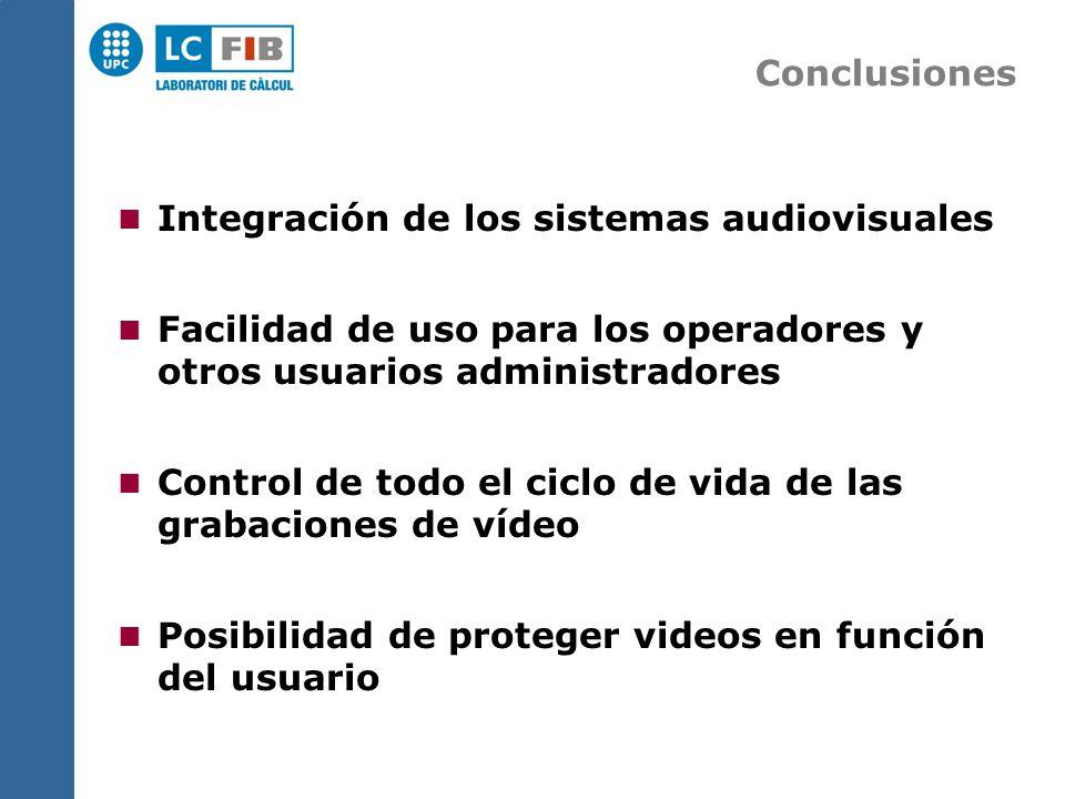 Conclusiones Integración de los sistemas audiovisuales Facilidad de uso para los operadores y otros usuarios administradores Control de todo el ciclo de vida de las grabaciones de vídeo Posibilidad de proteger videos en función del usuario
