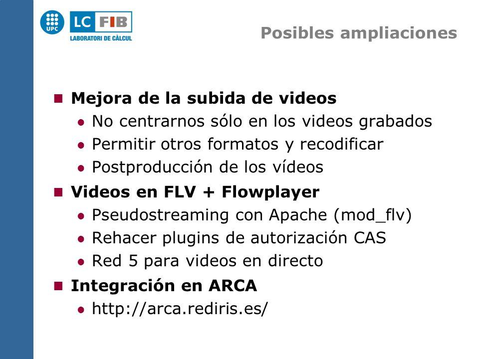 Posibles ampliaciones Mejora de la subida de videos No centrarnos sólo en los videos grabados Permitir otros formatos y recodificar Postproducción de los vídeos Videos en FLV + Flowplayer Pseudostreaming con Apache (mod_flv) Rehacer plugins de autorización CAS Red 5 para videos en directo Integración en ARCA http://arca.rediris.es/