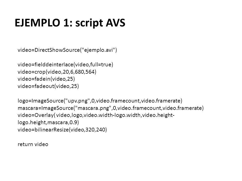 EJEMPLO 1: script AVS video=DirectShowSource(