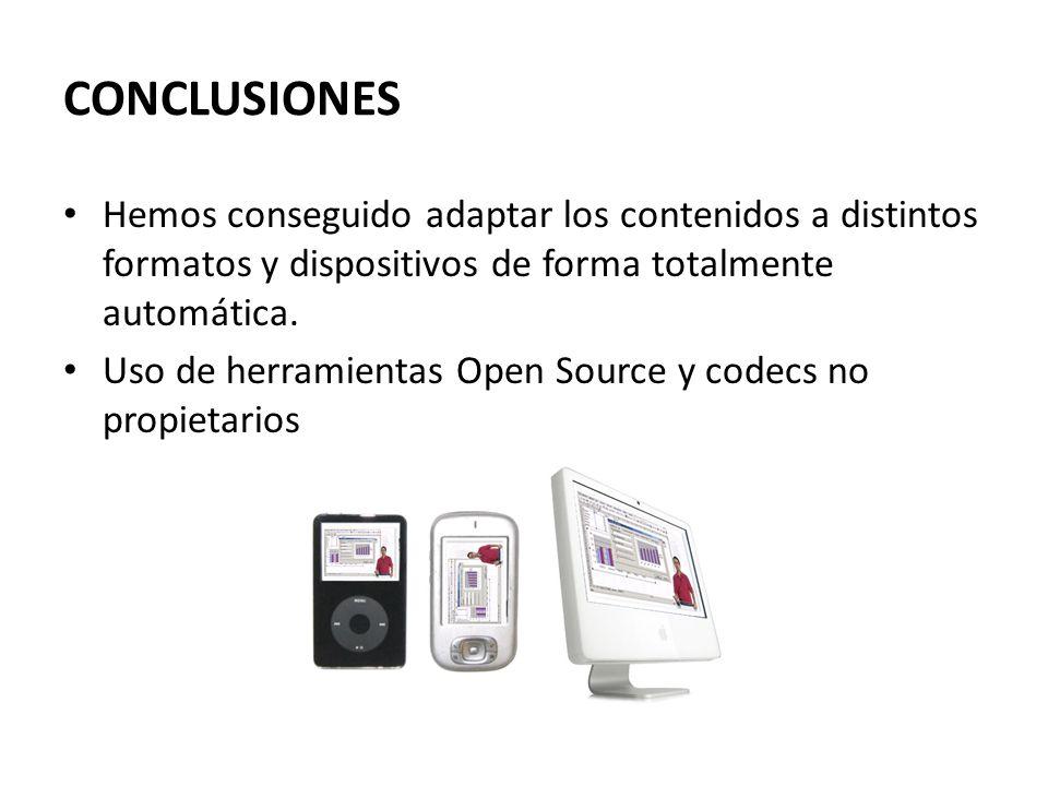 CONCLUSIONES Hemos conseguido adaptar los contenidos a distintos formatos y dispositivos de forma totalmente automática. Uso de herramientas Open Sour