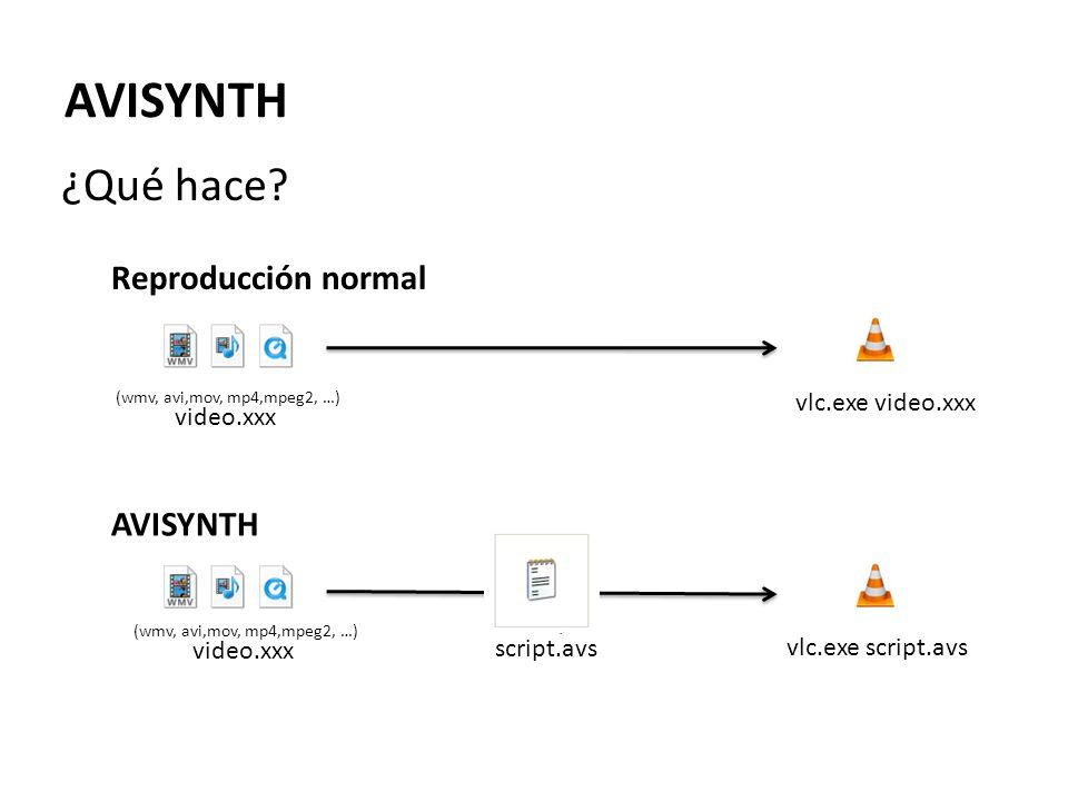 DirectShowSource ( ejemplo.avi ) v=DirectShowSource( ejemplo.avi ) return StackHorizontal(v,FlipHorizontal(v)) DirectShowSource( ejemplo.avi ) FlipHorizontal() AVISYNTH ¿Cómo funciona.