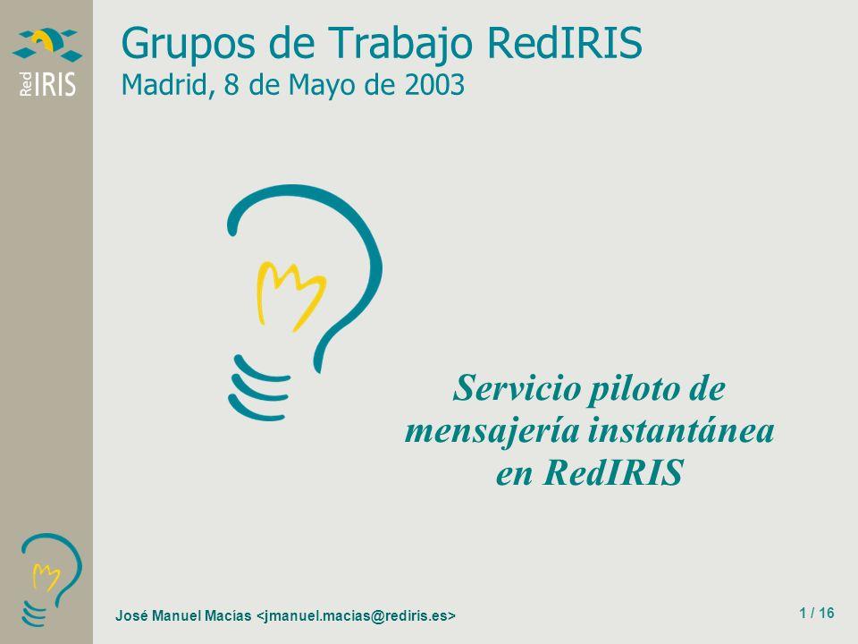 José Manuel Macías 1 / 16 Grupos de Trabajo RedIRIS Madrid, 8 de Mayo de 2003 Servicio piloto de mensajería instantánea en RedIRIS