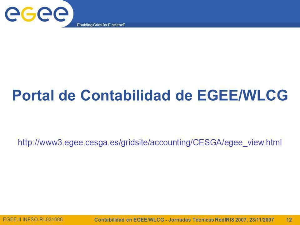 Enabling Grids for E-sciencE EGEE-II INFSO-RI-031688 Contabilidad en EGEE/WLCG - Jornadas Técnicas RedIRIS 2007, 23/11/2007 12 Portal de Contabilidad de EGEE/WLCG http://www3.egee.cesga.es/gridsite/accounting/CESGA/egee_view.html