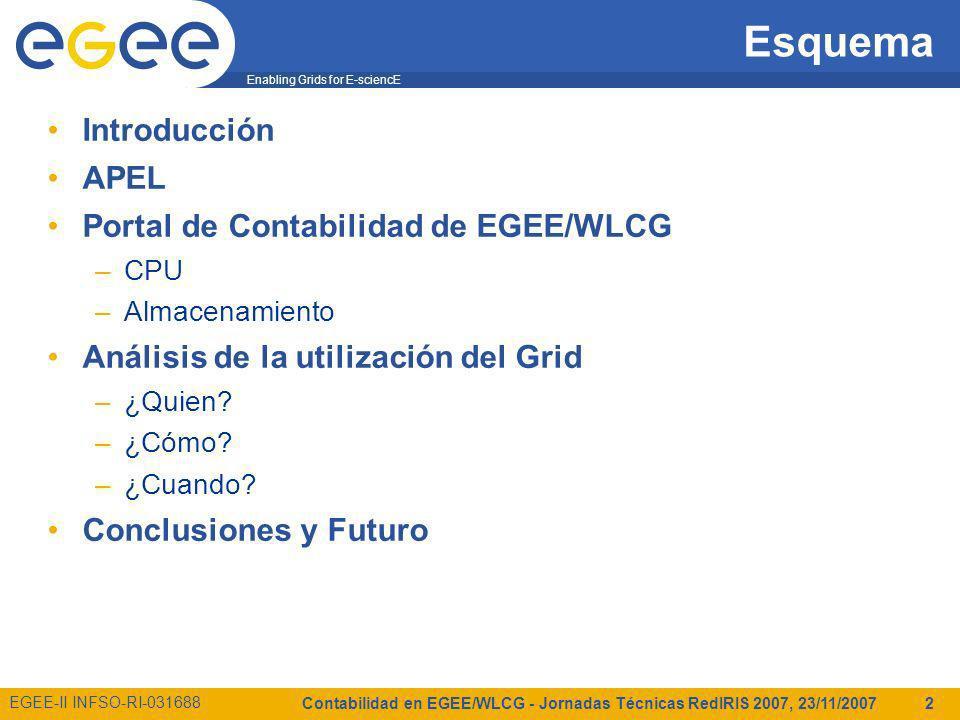 Enabling Grids for E-sciencE EGEE-II INFSO-RI-031688 Contabilidad en EGEE/WLCG - Jornadas Técnicas RedIRIS 2007, 23/11/2007 2 Esquema Introducción APEL Portal de Contabilidad de EGEE/WLCG –CPU –Almacenamiento Análisis de la utilización del Grid –¿Quien.