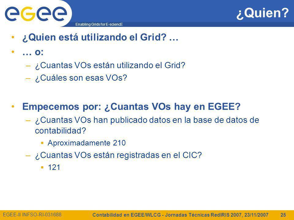Enabling Grids for E-sciencE EGEE-II INFSO-RI-031688 Contabilidad en EGEE/WLCG - Jornadas Técnicas RedIRIS 2007, 23/11/2007 25 ¿Quien.