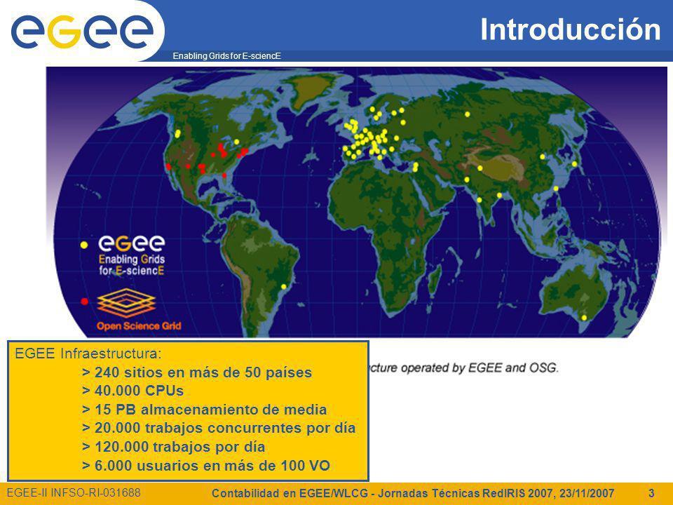Enabling Grids for E-sciencE EGEE-II INFSO-RI-031688 Contabilidad en EGEE/WLCG - Jornadas Técnicas RedIRIS 2007, 23/11/2007 3 Introducción EGEE Infraestructura: > 240 sitios en más de 50 países > 40.000 CPUs > 15 PB almacenamiento de media > 20.000 trabajos concurrentes por día > 120.000 trabajos por día > 6.000 usuarios en más de 100 VO