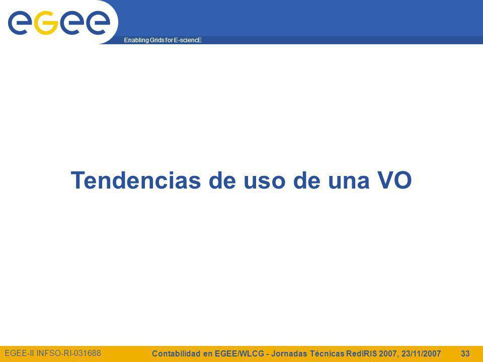 Enabling Grids for E-sciencE EGEE-II INFSO-RI-031688 Contabilidad en EGEE/WLCG - Jornadas Técnicas RedIRIS 2007, 23/11/2007 33 Tendencias de uso de una VO