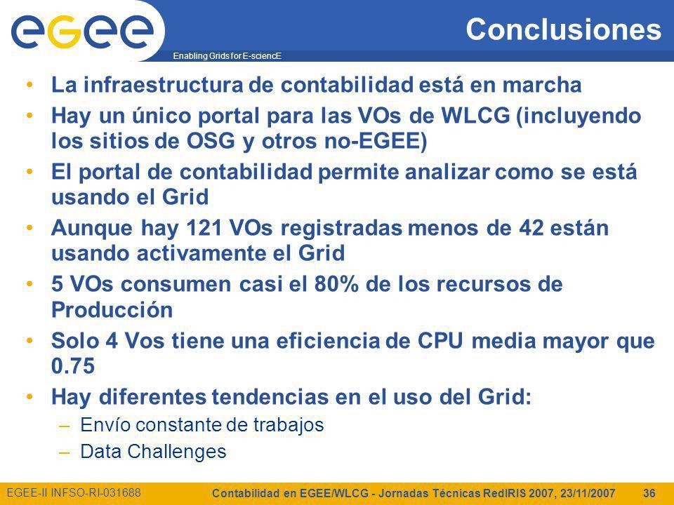 Enabling Grids for E-sciencE EGEE-II INFSO-RI-031688 Contabilidad en EGEE/WLCG - Jornadas Técnicas RedIRIS 2007, 23/11/2007 36 Conclusiones La infraestructura de contabilidad está en marcha Hay un único portal para las VOs de WLCG (incluyendo los sitios de OSG y otros no-EGEE) El portal de contabilidad permite analizar como se está usando el Grid Aunque hay 121 VOs registradas menos de 42 están usando activamente el Grid 5 VOs consumen casi el 80% de los recursos de Producción Solo 4 Vos tiene una eficiencia de CPU media mayor que 0.75 Hay diferentes tendencias en el uso del Grid: –Envío constante de trabajos –Data Challenges