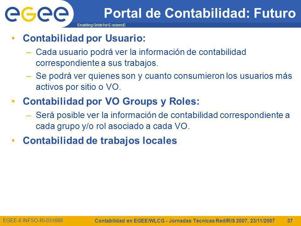 Enabling Grids for E-sciencE EGEE-II INFSO-RI-031688 Contabilidad en EGEE/WLCG - Jornadas Técnicas RedIRIS 2007, 23/11/2007 37 Portal de Contabilidad: Futuro Contabilidad por Usuario: –Cada usuario podrá ver la información de contabilidad correspondiente a sus trabajos.