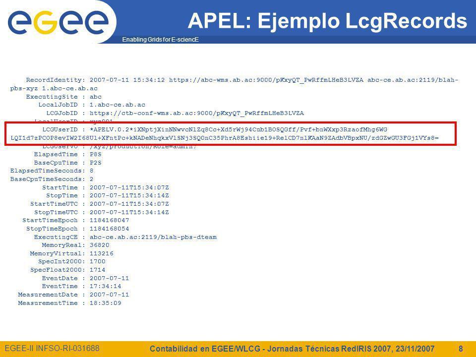 Enabling Grids for E-sciencE EGEE-II INFSO-RI-031688 Contabilidad en EGEE/WLCG - Jornadas Técnicas RedIRIS 2007, 23/11/2007 8 APEL: Ejemplo LcgRecords RecordIdentity: 2007-07-11 15:34:12 https://abc-wms.ab.ac:9000/pKxyQT_PwRffmLHeB3LVZA abc-ce.ab.ac:2119/blah- pbs-xyz 1.abc-ce.ab.ac ExecutingSite : abc LocalJobID : 1.abc-ce.ab.ac LCGJobID : https://ctb-conf-wms.ab.ac:9000/pKxyQT_PwRffmLHeB3LVZA LocalUserID : xyz001 LCGUserID : *APELV.0.2*iXNptjXinNNwvcNlZq8Cc+Xd5rWj94Cub1BOSQGff/Pvf+bnWXxp3RzaofMhg6WG LQI1d7zPCOP8evIW2I68Ul+XFntPc+kNADeNhqkxVlSNj3SQ0nC35PhrA8Eshiie19+RelCD7nlKAaN9ZAdbVBpxNU/zdGZwGU3FGj1VYs8= LCGUserVO : /xyz/production/Role=admin; ElapsedTime : P8S BaseCpuTime : P2S ElapsedTimeSeconds: 8 BaseCpuTimeSeconds: 2 StartTime : 2007-07-11T15:34:07Z StopTime : 2007-07-11T15:34:14Z StartTimeUTC : 2007-07-11T15:34:07Z StopTimeUTC : 2007-07-11T15:34:14Z StartTimeEpoch : 1184168047 StopTimeEpoch : 1184168054 ExecutingCE : abc-ce.ab.ac:2119/blah-pbs-dteam MemoryReal: 36820 MemoryVirtual: 113216 SpecInt2000: 1700 SpecFloat2000: 1714 EventDate : 2007-07-11 EventTime : 17:34:14 MeasurementDate : 2007-07-11 MeasurementTime : 18:35:09