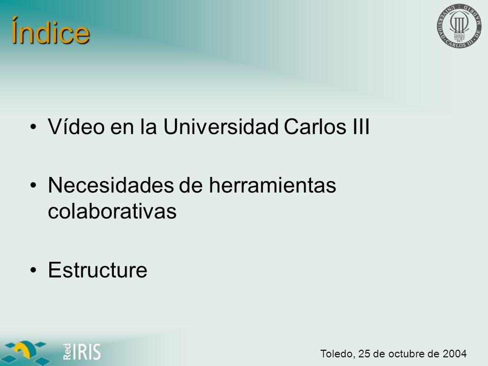 Toledo, 25 de octubre de 2004 Red de Vídeo UC3M 3 campus –Getafe –Leganés –Colmenarejo 10 salas de generación de contenidos –5 en Getafe –2 en Leganés –3 en Colmenarejo Colmenarejo Leganés Getafe