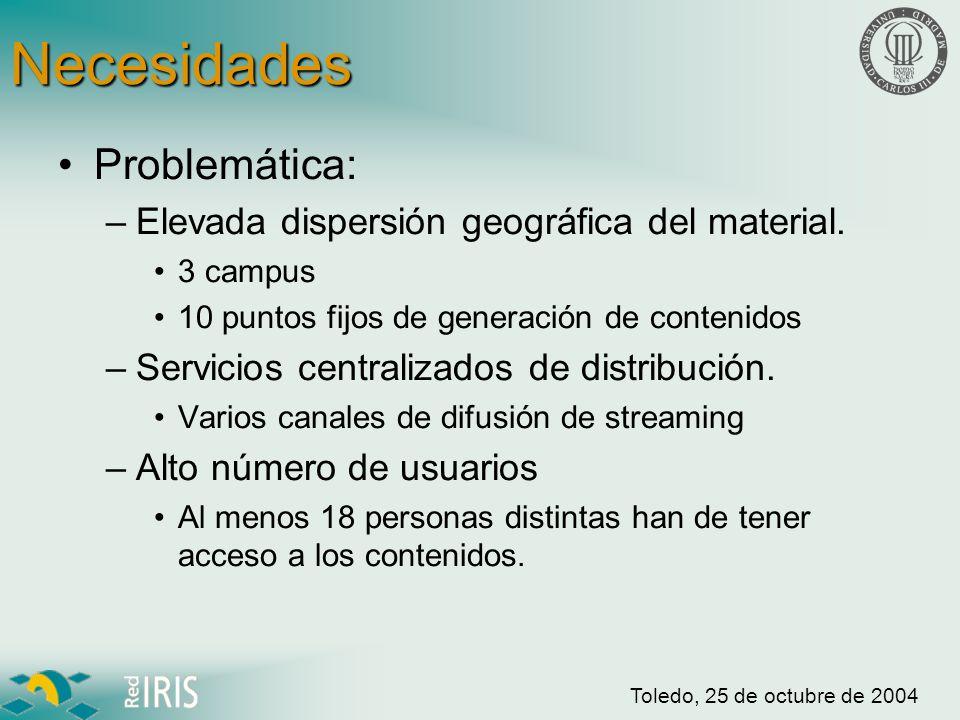 Toledo, 25 de octubre de 2004 Necesidades Necesidades: –Herramienta de compartición de contenidos.