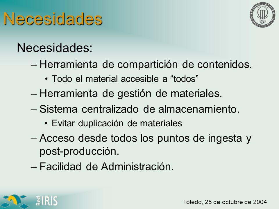 Toledo, 25 de octubre de 2004 Necesidades Almacenamiento Gestión Seguridad Multiacceso Leganés Colmenarejo Getafe