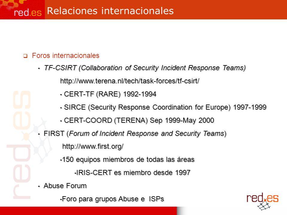 Relaciones internacionales Foros internacionales TF-CSIRT (Collaboration of Security Incident Response Teams) TF-CSIRT (Collaboration of Security Inci