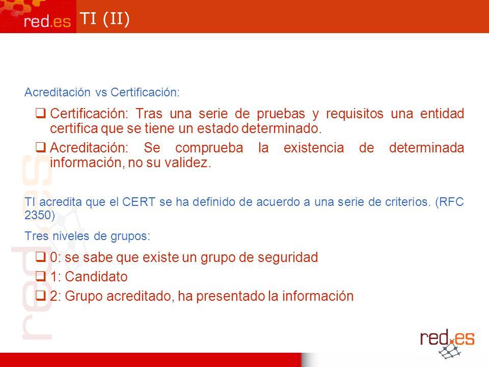 TI (II) Acreditación vs Certificación: Certificación: Tras una serie de pruebas y requisitos una entidad certifica que se tiene un estado determinado.