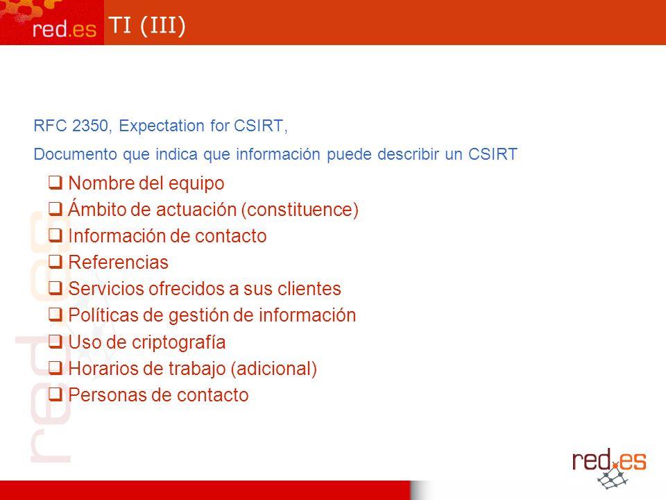TI (III) RFC 2350, Expectation for CSIRT, Documento que indica que información puede describir un CSIRT Nombre del equipo Ámbito de actuación (constit
