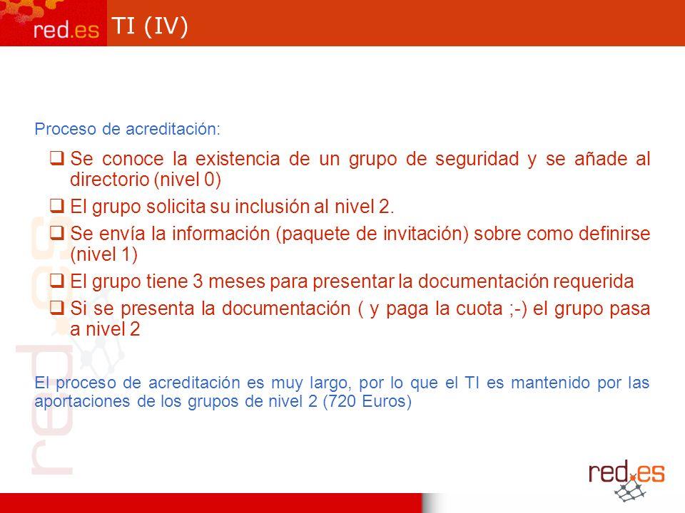 TI (IV) Proceso de acreditación: Se conoce la existencia de un grupo de seguridad y se añade al directorio (nivel 0) El grupo solicita su inclusión al nivel 2.