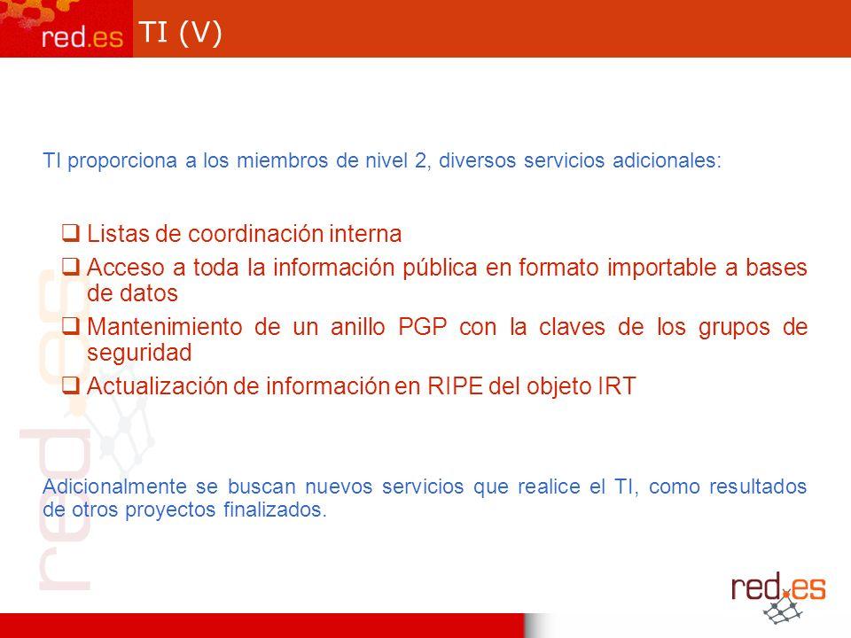 TI (V) TI proporciona a los miembros de nivel 2, diversos servicios adicionales: Listas de coordinación interna Acceso a toda la información pública en formato importable a bases de datos Mantenimiento de un anillo PGP con la claves de los grupos de seguridad Actualización de información en RIPE del objeto IRT Adicionalmente se buscan nuevos servicios que realice el TI, como resultados de otros proyectos finalizados.