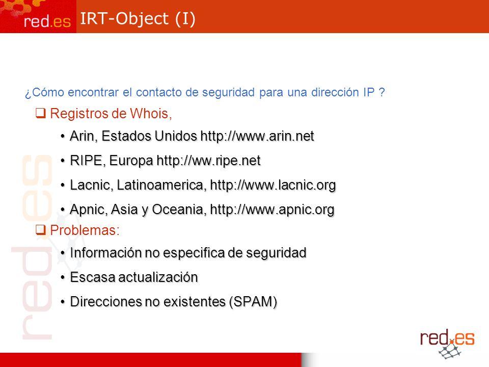 IRT-Object (I) ¿Cómo encontrar el contacto de seguridad para una dirección IP .