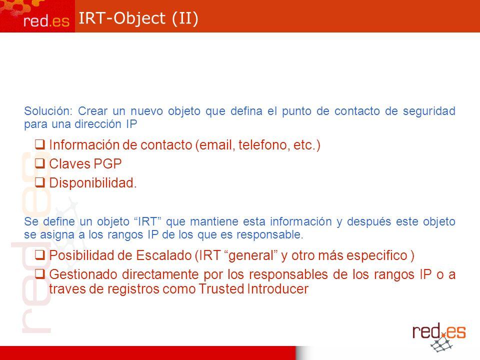 IRT-Object (II) Solución: Crear un nuevo objeto que defina el punto de contacto de seguridad para una dirección IP Información de contacto (email, telefono, etc.) Claves PGP Disponibilidad.