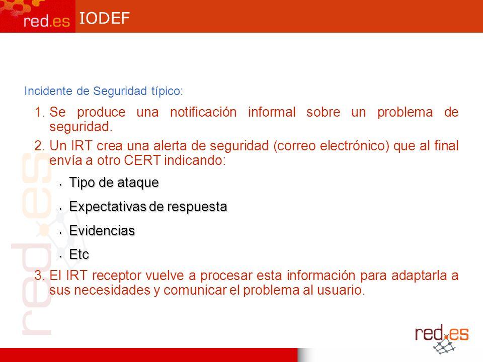 IODEF Incidente de Seguridad típico: 1.Se produce una notificación informal sobre un problema de seguridad.
