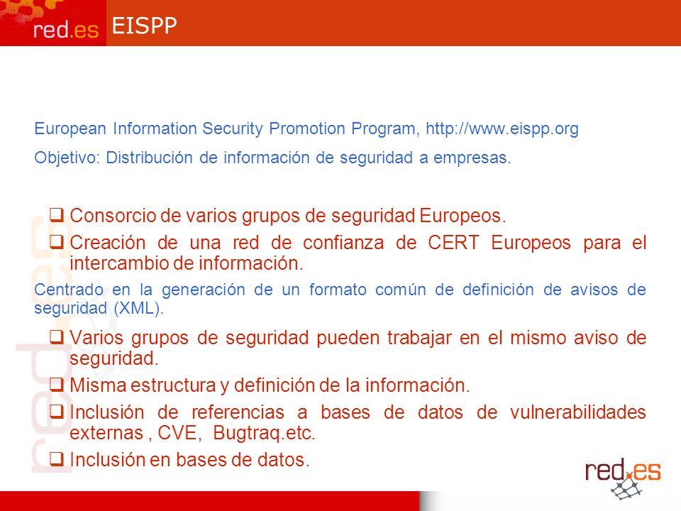 EISPP European Information Security Promotion Program, http://www.eispp.org Objetivo: Distribución de información de seguridad a empresas.