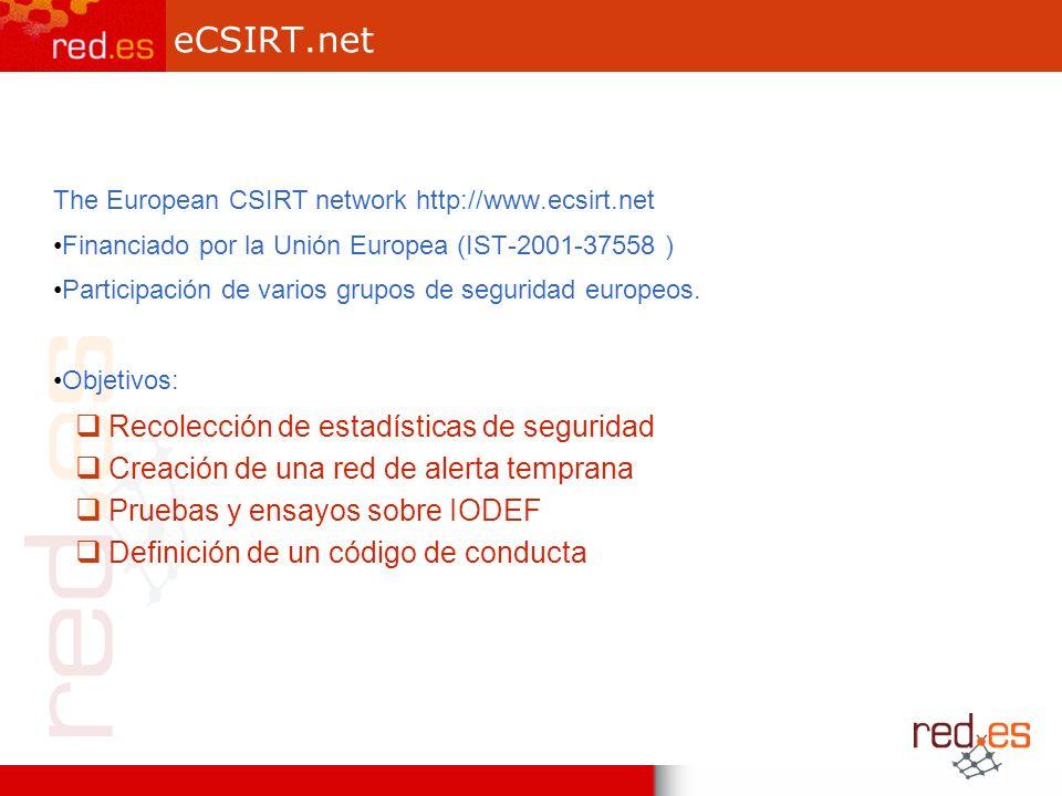 eCSIRT.net The European CSIRT network http://www.ecsirt.net Financiado por la Unión Europea (IST-2001-37558 ) Participación de varios grupos de seguridad europeos.
